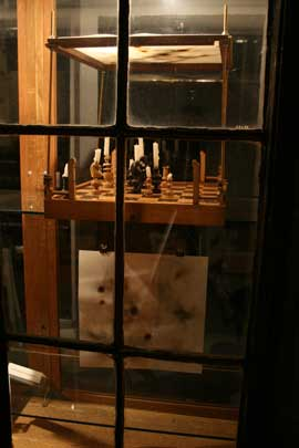 Chess set in window